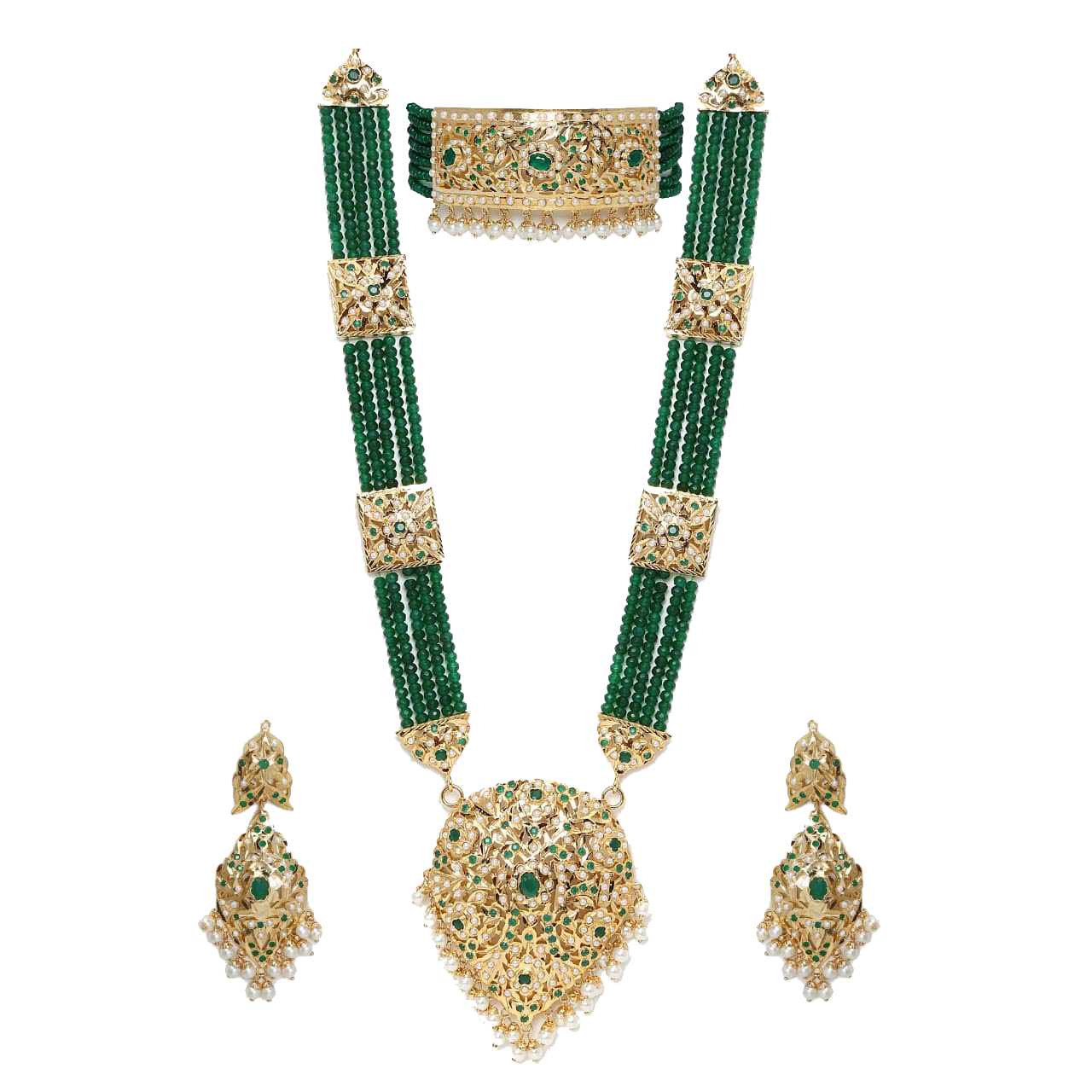 Raanihaar Set with Green Crystal Stones