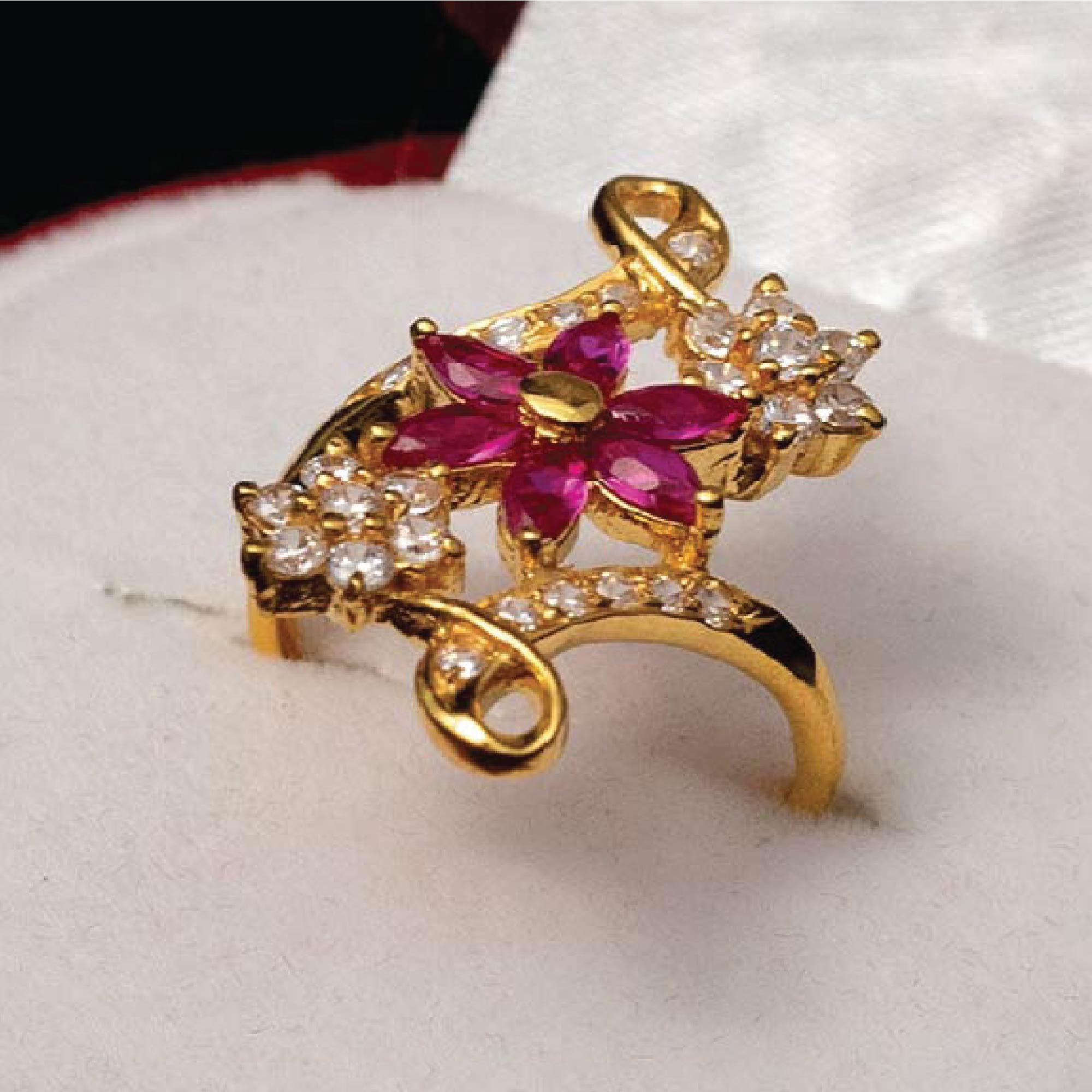 Red Topaz Golden Ring