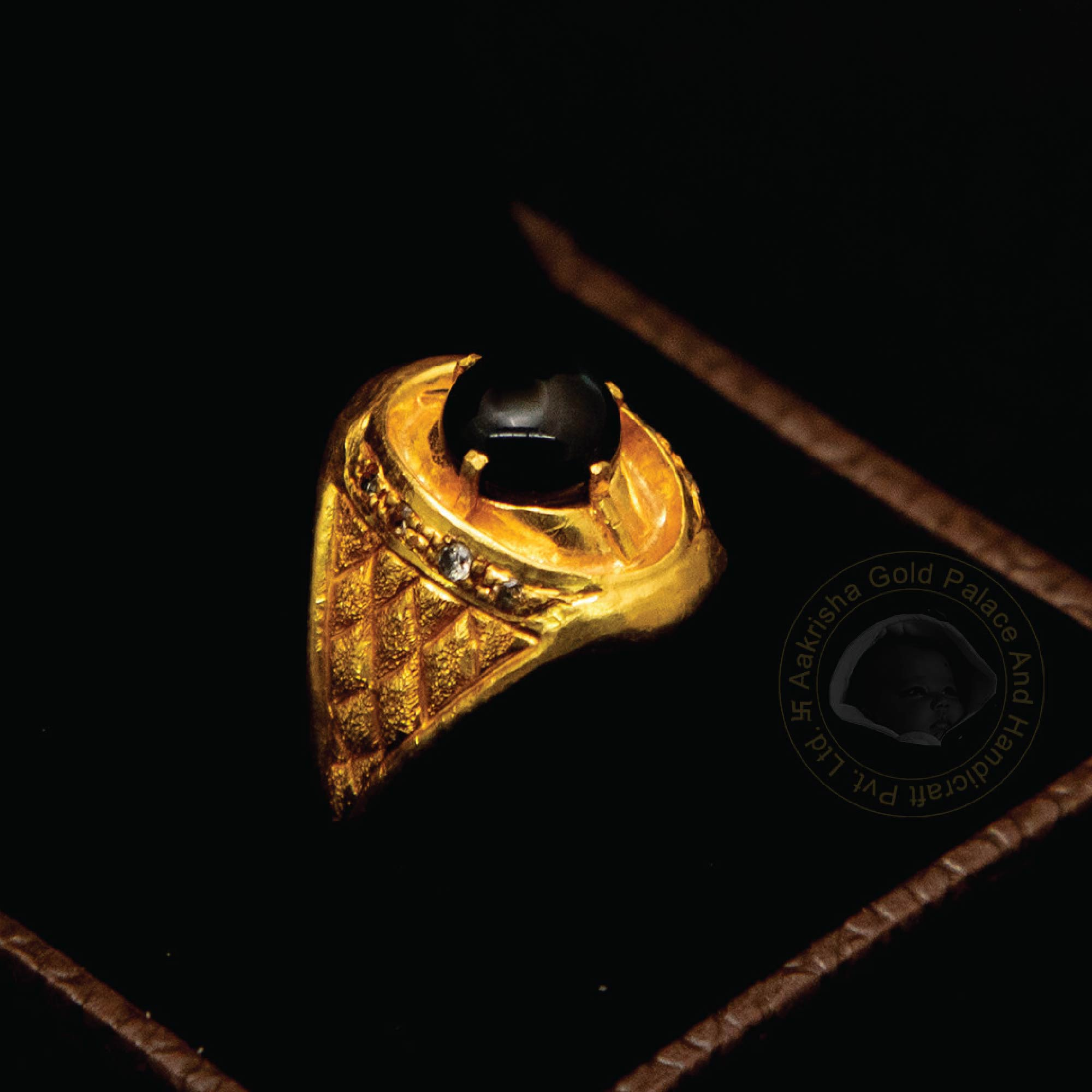 Golden Ring with Black Onyx