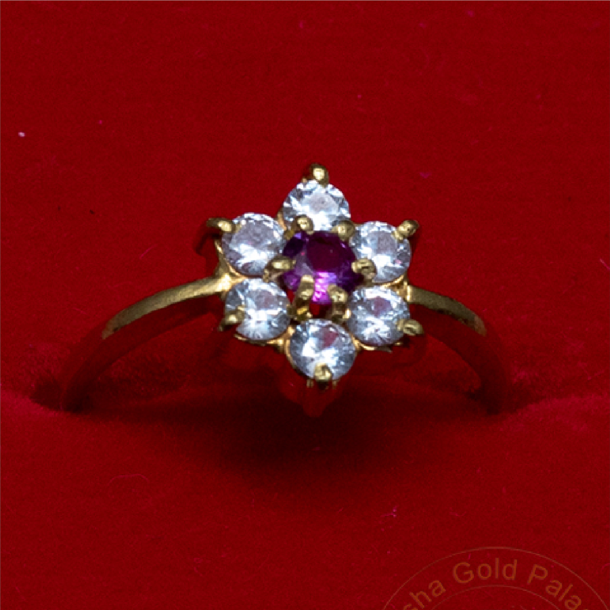 Flower Shaped Ring with Stones